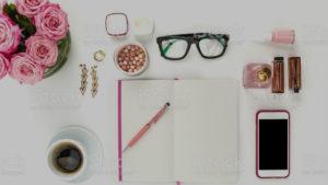 pink notebook phone